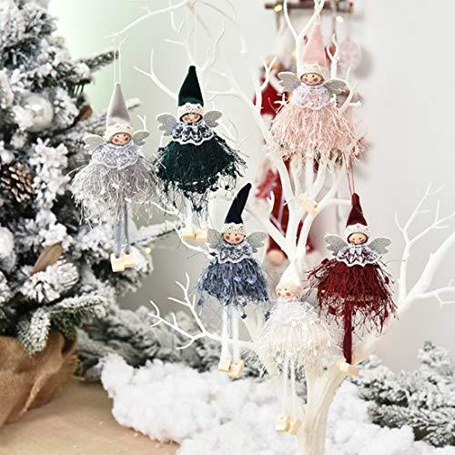 ZSWQ 6 Piezas Angel Dolls Árbol de Navidad Decoración Adorno Colgante de Navidad,Adornos navideños muñeco de ángel de Peluche, Adorno para Colgar en casa, decoración de Ventanas, Regalo para niños