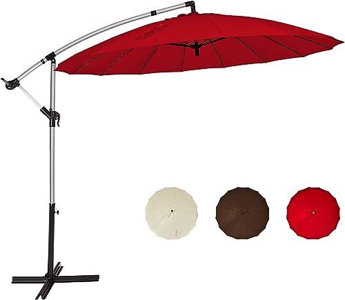 discount Giantex 10FT Patio sale Offset Umbrella, Cantilever Outdoor Umbrella with Easy Tilt Adjustment, 16 Ribs, Crank & Cross Base, Garden, Lawn, Deck, online sale Backyard and Poolside Hanging Market Umbrella outlet online sale