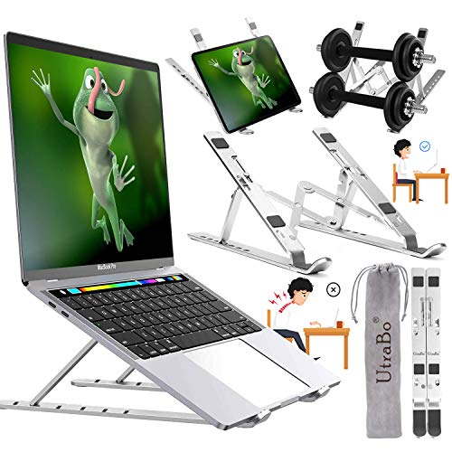 "Laptop Stand-Adjustable Laptop Stand Aluminum7-Angles Adjustable Ventilated Cooling, Portable laptop stand Mount Compatible with MacBook Air Pro/Lenovo/Dell/More 10-17"" Laptops or Tablet up to 88Lbs+"