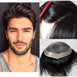 Lumeng Wigs for Men Hairpiece Mono Lace Systems Mens Toupee Lace Systems 8x10 Inch 1# …