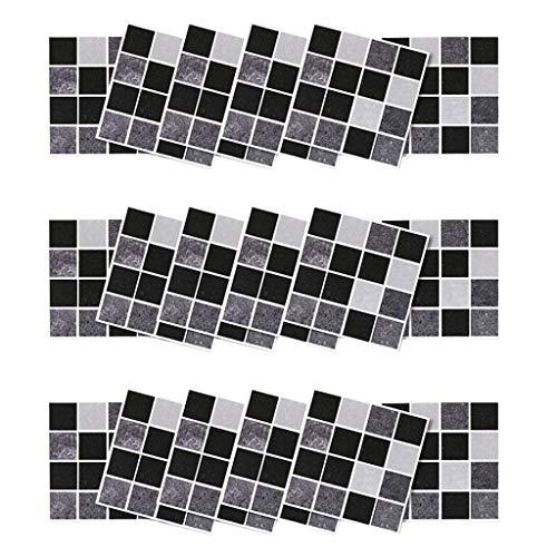 UKtrade 18 STKS 10 × 10 cm DIY Home Decor Zwart en wit Tegel Mozaïek Stickers Zelfklevende Kamer Badkamer Appartement Dorm Muursticker