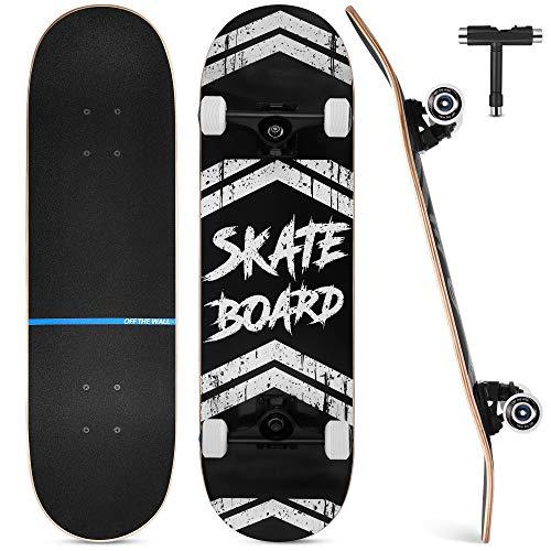 Skateboard Completo, Funxim Tabla de Skateboard 31 x 8 Pulgadas 4 Ruedas 7 Capas Madera de Arce Doble Patada Rueda Completa para Monopatín Skateboard para Principiantes Hombres y Mujeres Jóvenes Niños