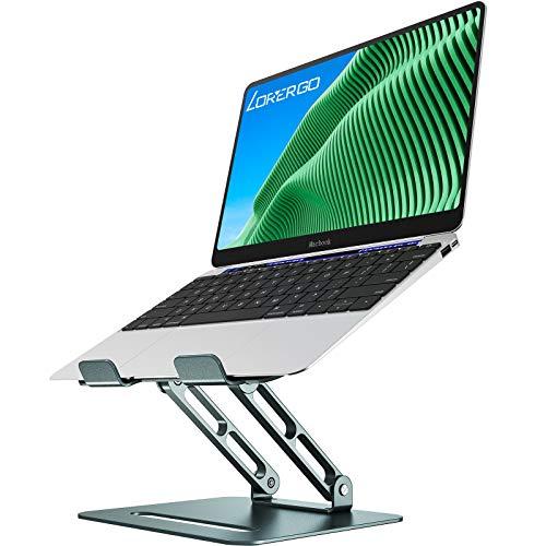 LORYERGO Aluminium Laptop Ständer für 11-17 Zoll Notebooks Ergonomischer Einstellbar Notebook Ständer Ausblendbar laptopständer Kompatibel - Dunkelgrün