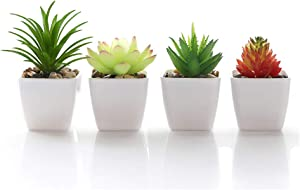 Veryhome Fake Succulents Plants Artificial Potted in Mini Square White Pots for Home Garden Decor Green (Plastic Pots,4PCS)
