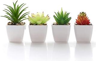 Veryhome Fake Suculentas Plantas Artificiales En Macetas En Mini Macetas Cuadradas Blancas para Jardín De Casa Decoración ...