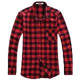 OCHENTA Men's Button Down Plaid Flannel Shirt, Long Sleeve Casual Tops N056 Red Black Asian 3XL - US L