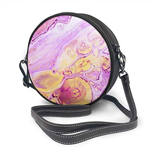 Ronde Schoudertas Echt Lederen Messenger Bag Vintage Crossbody Verstelbare Schouderband Voor Vrouwen Acryl Verf Backdrop Met Roze Poeder