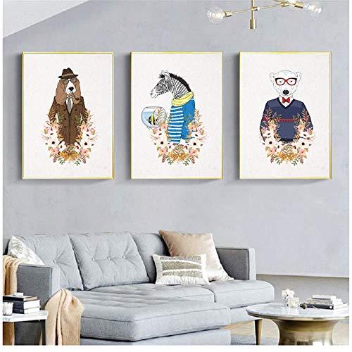 RuiChuangKeJi Kunstplakat Moderne Cartoon-Tiere tragen Hundeposter und Drucke Kinderzimmer Wandkunst Leinwandbilder Bilder Kinderzimmer Wohnkultur 3x60x80cm ohne Rahmen