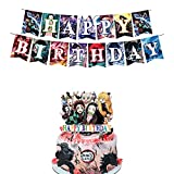Demon Slayer Happy Birthday Banner Cake Topper Anime Decor Party Suppliers for Birthday Party Decorations