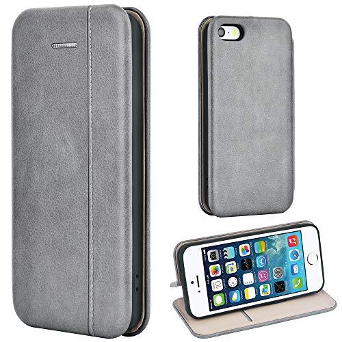 Leaum Handyhülle für iPhone SE / 5S / 5 Hülle, Premium Leder Tasche Flip Schutzhülle (Grau)