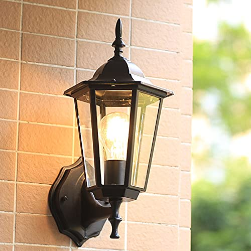 SXNYC Applique da Muro da Esterno Design Classico, Lanterna Vintage da Esterno con vetri Trasparenti e Attacco E27 per Giardino, viale e Cortile