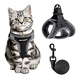 Cat Harness and Leash for Walking Escape Proof, Adjustable Cat Leash and Harness Set, Lifetime Replacement, Lightweight Kitten Harness, Easy Control Breathable Step-in Cat Vest with Reflective Strip