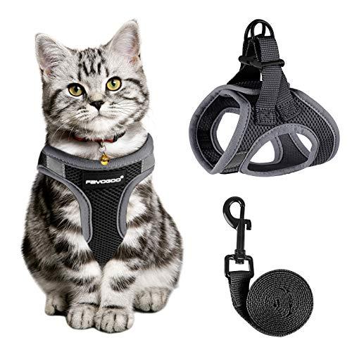 FAYOGOO Katzengeschirr Katzenleine Geschirr für Katzen, Katzengeschirr mit Leine AusbruchsicherVerstellbares Katzen Geschirr Kontrollierende Atmungsaktive Katzenleine mit Reflektierenden Streifen