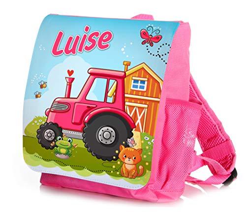 Werbetreff Gera Kinderrucksack Traktor Pink rosa für Mädchen individuell mit Name bedruckt, ideal für Kita/Kindergarten Kindergartenrucksack