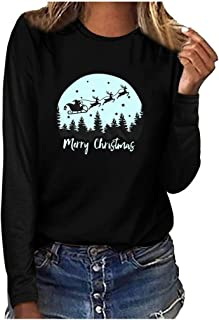 Merry Christmas Womens Long Sleeves Pattern Letter Printed Christmas T-Shirt Tops Casual Fall Light Sport Loose Blouse