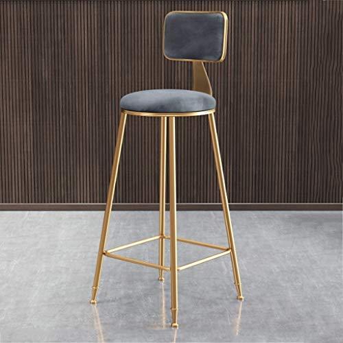 Muebles Bar para Salon Polipiel Taburete Silla Moderna Silla Taburete de Barra Cubierta de Cocina Inicio Banco de Velvet Cojín (6 Colores Opcionales, 45cm / 65cm / 75cm) (Color : Gris, Size : 65cm)
