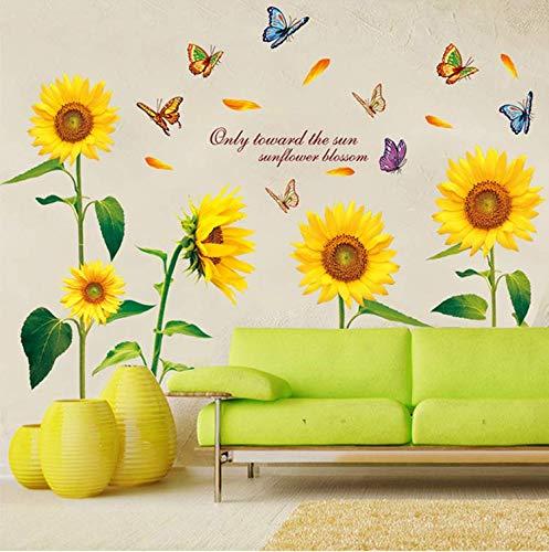 Wandtattoo für Wohnzimmer, Sonnenblume Wandsticker als Wanddekoration für Schlafzimmer Kinderzimmer 100×110cm Wand Aufkleber | Deko Wandtattoo für Wand Möbel/Schrank Küche Bad Fenster Flur