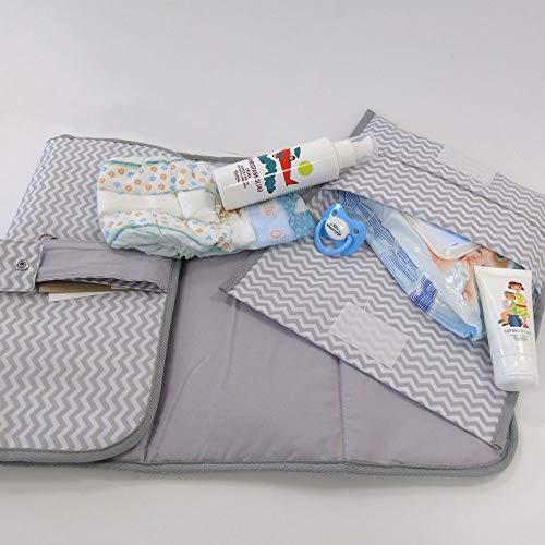 Porta pañales y toallitas de bolso con cambiador para pañales de tela impermeable con cremallera gris