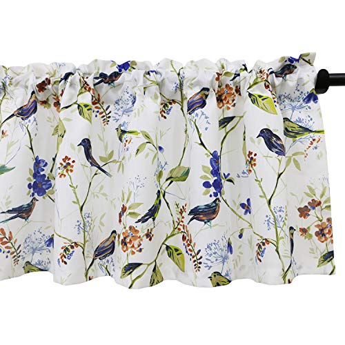 Leeva Birds Vines Printed Curtains Valances for Kitchen Bath Laundry Bedroom Living Room, Rod Pocket Valance for Windows, 52 x 18 Inch, Blue Birds