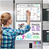 Magnetic Dry Erase Calendar and Whiteboard Bundle for Fridge: 2 Boards Included - 17x12' - 6 Fine Tip Markers and Large Eraser with Magnets- Monthly Whiteboard for Refrigerator Wall: Dry Erase Board