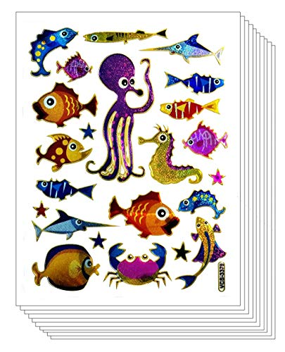 Stickers Pack 10 Sheets Tropical Fish Ocean Crabs Seahorses Shell Starfish Cartoon Stickers Craft Scrapbooking Book Album Card Diary Calendars Planner Decoration Art Decal for Kid and Adult (10)