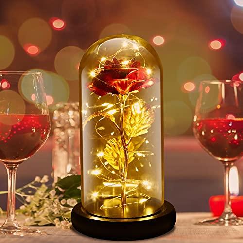 La Bella e La Bestia Rose Incantate,Rosa Eterna,Elegante Cupola di Vetro con Base Pino Luci LED,Beauty And Beast Regali Magici Decorazioni per San Valentino Anniversario di Matrimonio Vacanza (D'oro)