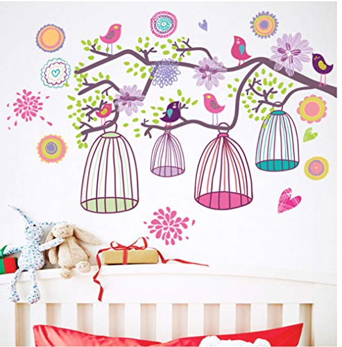 Muursticker BUDSD Twig Vogelkooi Muursticker voor Kinderen Babykamers Woonkamer Slaapkamer Achtergrond Decoraties Behang Kwekerij Verwijderbaar 46x65cm
