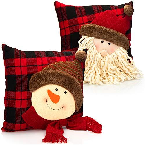 com-four® 2X Weihnachtskissen mit weihnachtlichen Motiven - Zierkissen für Weihnachten - Weihnachtsdeko - Dekokissen - 35 x 35 cm (2 Stück - Weihnachtsmann. Schneemann)