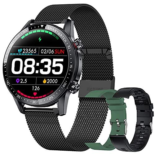 Smartwatch, Reloj Inteligente Hombre con Llamadas, Pulsera Actividad Inteligente con Pulsómetro, Monitor de Sueño, Reloj Digital Calorías Podómetro Impermeable IP67 para Android e iOS (3 Correas)