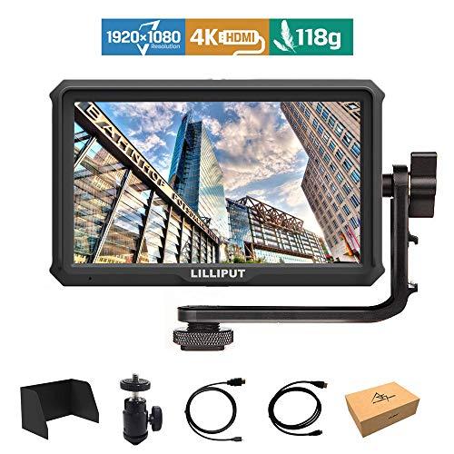Lilliput A5 5 Pulgadas 1920x1080 HD 441ppi IPS DSLR Camera Field Monitor 4K HDMI Input Output GH5 GH5s 5D 7D A7 A7R A7S III A9 DSLR Zhiyun Crane 2 M Ronin-S