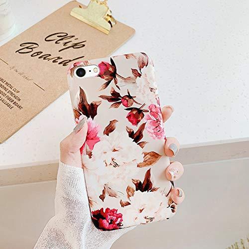 Cover iPhone 7,Cover iPhone 8 Modello dipinto fiori foglie banana Ultra Sottile Morbido Trasparente Silicone Custodie Protettivo Crystal TPU Gel Cover Custodia Chic Clear Case Cover,Fiore Di Peonia