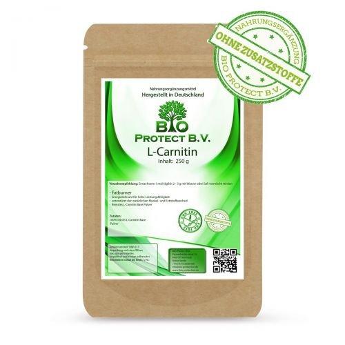 L-Carnitin Base Pulver 250 g Ohne Zusatzstoffe - der Fatburner von Bio Protect