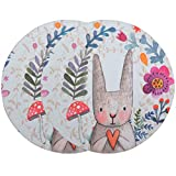 SOUBUN 2 Pack Mouse Pad, Round Mouse Mat, Cute Mouse Pad with Design, Non-Slip Rubber Base Mousepad, Waterproof Office Mouse Pad, Small Size 7.9 x 7.9 x 0.12 Inch (Wreath Rabbit)