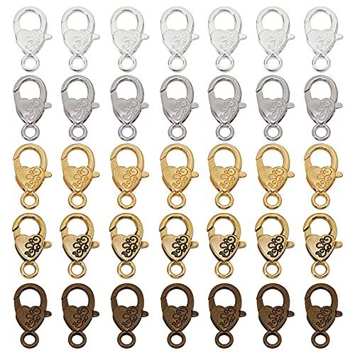 CHGCRAFT 30 piezas de forma de corazón de aleación de langosta cierres de joyería para bricolaje artesanía collar pulsera fabricación de joyas colores mezclados
