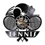 HIDFQY Tennis Logo Raquette Court Balle décoration Horloge Murale Jeu Jeu de Tennis Grand chelem Vinyle Horloge Murale Joueur de Tennis Cadeau Pas de LED