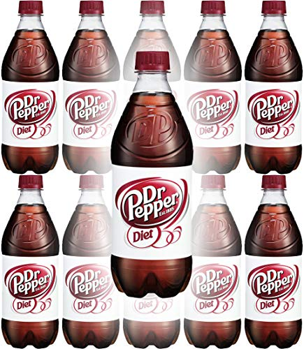 Diet Dr. Pepper Soda, 20oz Bottle (Pack of 10, Total of 200 Fl Oz)