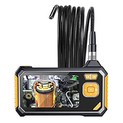 Industrial Endoscope,YINAMA 1.6-198inch Focal Distance Digital Semi-rigid Borescope 4.3inch LCD 2600mAh Rechargeable Battery 8G SD Card Snake Camera 1080P HD Video Waterproof Inspection Camera(9.84FT)