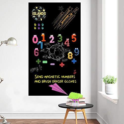 Pizarra magnética para pared, papel de contacto extraíble, pizarra de papel de pared para el hogar, habitación infantil, escuela, oficina con tizas (40 x 18 pulgadas)