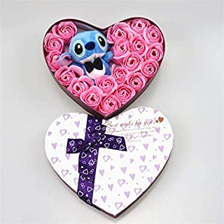 Tequila DS Animals Stuffed Pillow Hand Made high quanlity Pink and Blue Stitch Plush Toys with soap Flowers Stitch Bouquet Creative Valentine's Gifts-Gray