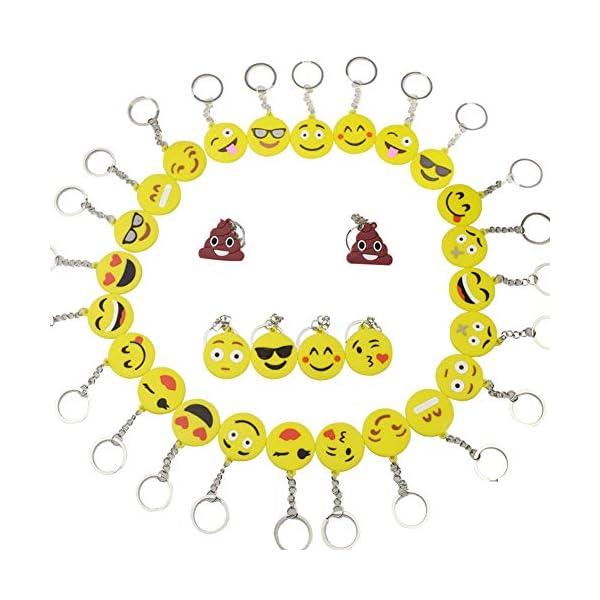 512cYkT1P8L. SS600  - BESTZY 30 Pcs Mini Emoji Llavero Emoji Encantadora Emoticon Llavero Llavero Emoji de Cara Redonda Decoración de Bolsos…
