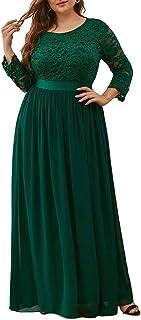Ever-Pretty Vestiti da Cerimonia Donna Linea ad A Pizzo Chiffon Girocollo Manica Lunga Taglie Forti Abiti da Damigella 074...