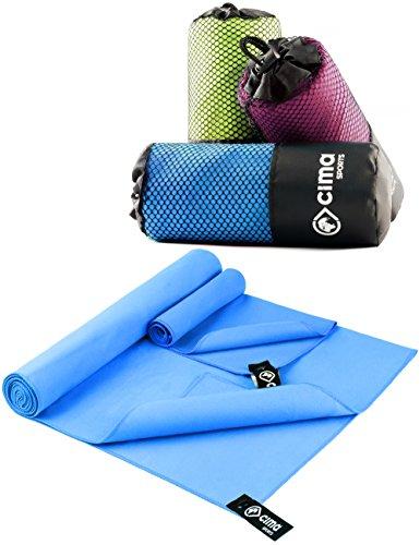cima-SPORTS 2er Set Mikrofaser Handtücher 140x70cm & 40x30cm inkl GRATIS Transporttasche  ideales Sport-Handtuch für Fitness, Yoga, Leichtathletik – klein, leicht, kompakt und Ultra saugfähig