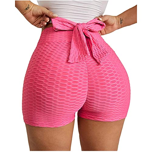 XYWZ Women s High Waist Yoga Shorts Textured Bow Tie Butt Lifting Sports Shorts Gym Workout Running Beach Shorts Leggings for Women (Medium,A)