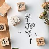 IWILCS Holzstempel zum Basteln, 20PCS Holz Stempel Gummi Holz Vintage Holzstempel Hochzeit, Keksstempel Tischdeko, Natürliche Pflanze Seal Set - 5