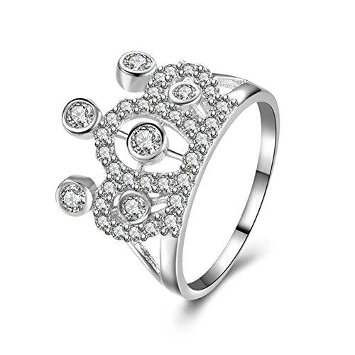 Adokiss Anillo de plata 925, anillo de boda para mujer, corona blanca, redondo brillante, circonita, talla 57 (18,1), regalo de cumpleaños para novia