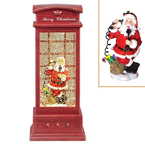 Heasylife Weihnachtsschneekugel Telefonzelle, Weihnachtsmann gefüllte Schnee Schneeflocken Fliegende Wasserlaterne 2 Lademöglichkeiten Weihnachtsrote Laterne für Weihnachtsdekoration/Geschenk