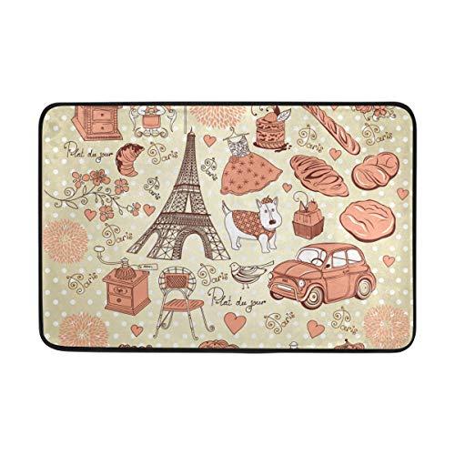 MONTOJ Paris Dream Tapis de Salle de Bain Super Doux pour Salon, Chambre à Coucher, décoration d'intérieur, paillasson résistant à l'usure