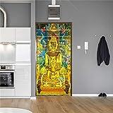 3D Tür Aufkleber Buddha mit hübschen Orchideentür