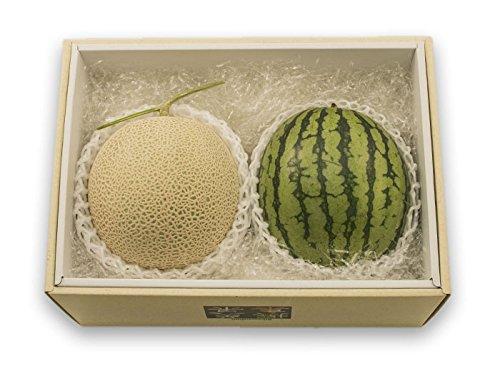 フルーツなかやま アールスメロンと小玉西瓜の2種セット【化粧箱入】アールスメロン:糖度14度以上。小玉西瓜:12cm以上、糖度11度以上。各1個