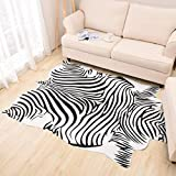 Teppiche Matten Teppiche Zebra Kuhfell Teppich Die gesamte Nordic American Tier schwarz und weiß Teppich Wohnzimmer Schlafzimmer Bett kleine kreisförmige dünne Bodenmatte ( Size : 200cm(78.7 inches) ) - 4